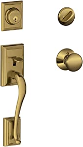 Schlage Lock Company Addison Single Cylinder Handleset and Plymouth Knob, Antique Brass (F60 ADD 609 PLY)