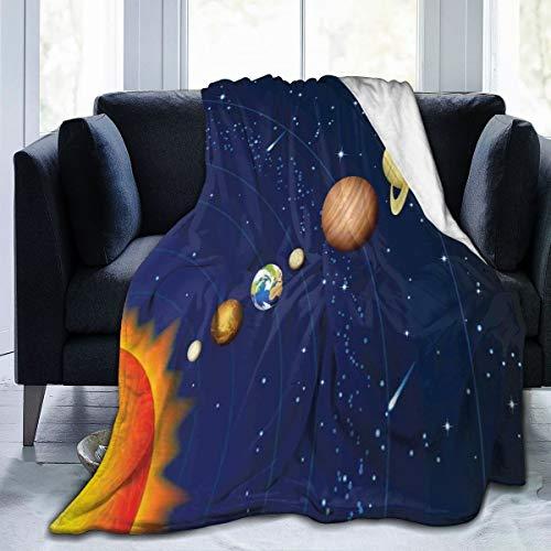 Qing_II - Coperta in Pile con Sistema Solare e Sole, Urano, Venere Jupiter Mars Pluto Saturn Neptune Invernale, Morbida e Calda, 127 x 165 cm, per Letto, Poltrona, Ufficio