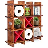 WishaLife Rustic Wooden Toilet Paper Holder, Foldable Tic Tac Toe Design for Wall Mounted or Freestanding Bathroom Tissue Roll Storage Organizer