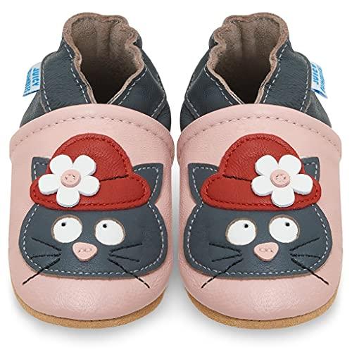 Juicy Bumbles - Weicher Leder Lauflernschuhe Krabbelschuhe Babyhausschuhe mit Wildledersohlen. Junge Mädchen Kleinkind- Gr. 18-24 Monate (Größe 24/25)- Schwarze Katze