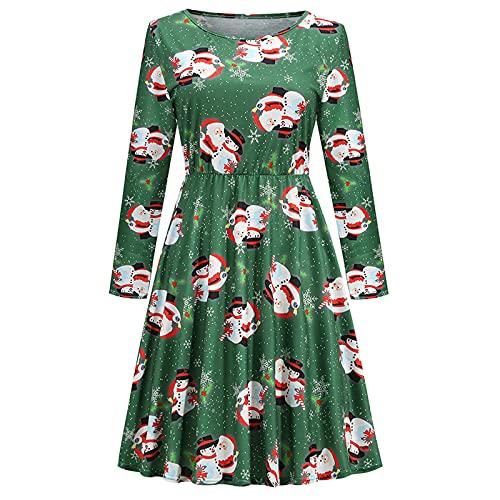 AOCRD Vestido de Navidad para mujer, con estampado de alce, cuello redondo, mangas largas, elegante, de talle alto, vestido de noche, vestido de cóctel, fiesta, vestido largo, verde, XL