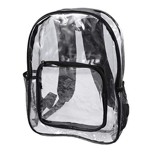 BESPORTBLE Transparenter PVC-Rucksack durchsichtig Schulrucksack im Freien Bookbag Travel Make-up Tasche Organizer (schwarz)