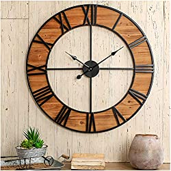 Glitzhome 30 D Oversized Farmhouse Retro Wooden & Metal Wall Clock, Classic Clock with Large Roman Numerals for Living Room Home Kitchen School Office