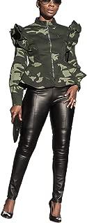 Womens Sexy Military Jacket High Neck Ruffle Long Sleeve Front Zip Camo Jackets Camouflage Coat