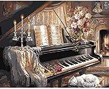 punto de cruz con tela estampada-Partitura de piano-Kits de bordado para principiantes, niños y adultos con patrón impreso de 11 quilates -40x50cm