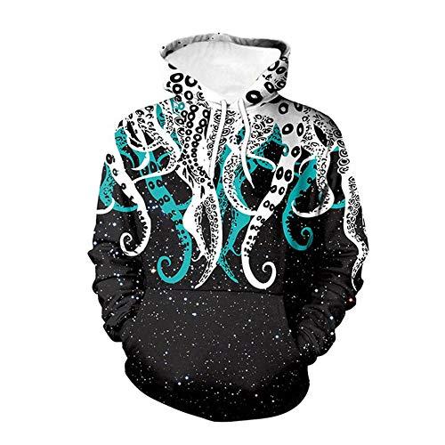 Sudadera con capucha con estampado 3D unisex para hombres y mujeres, con bolsillos canguro y patrón de pulpo, S-5XL, para fiestas de compras NY-567 Blanco blanco XXX-Large