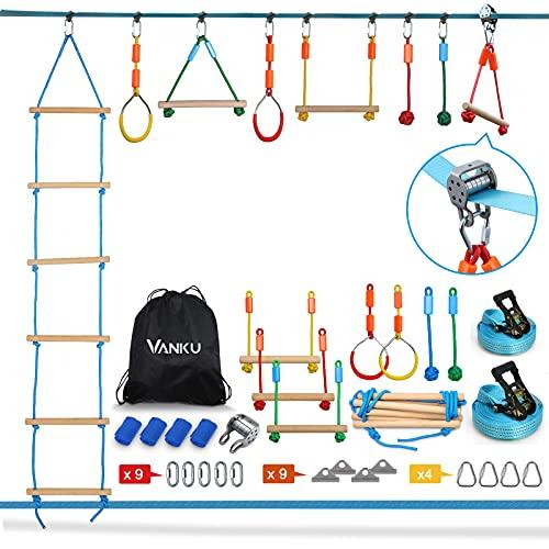 Vanku 15m Slackline Kit Parcours d'obstacles à Suspendre, nanjaline Équipement de Formation pour Les Enfants en Plein air