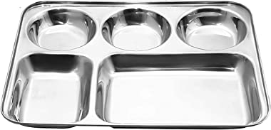 Shopidity 5 in 1 Stainless Steel Dining Round Square Extra Deep Compartment Divided Dinner Plate, Silver, Set of 1