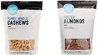 Amazon Brand - Happy Belly Fancy Whole Cashews, 44 Ounce & Happy Belly Roasted & Salted California Almonds, 48 Ounce