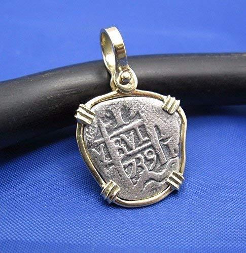 Small'1 Reale' Pirate Coin Reproduction Cob Pendant with Custom 14k Bezel by Crisol Jewelry (Atocha Shipwreck Replica)