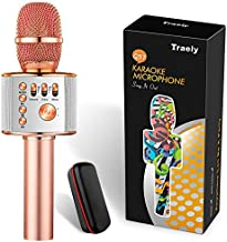 Toys for 4-12 Years Old Girls Boys Karaoke Machine for Kids Wireless Bluetooth Rechargeable Portable Singing Karaoke Microphone Christmas Birthday Gifts for Age 4 5 6 7 8 9 10 Party Indoor(Rose Gold)