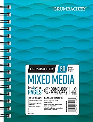 Grumbacher Mixed Media Paper Pad with In & Out Pages, 90 lb. / 185 GSM, 7 x 10 inches, Side Wired, 50 White Sheets/Pad, 1 Each, 26460700613