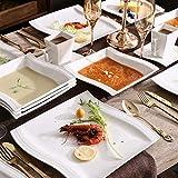 MALACASA, Serie Flora, 56 TLG. CremeWeiß Porzellan Geschirrset Kombiservice Tafelservice mit je 6 Schälen, 6 Tassen, 6 Untertassen, 12 Dessertteller, 12 Suppenteller, 12 Speiseteller und 2 Platte - 2