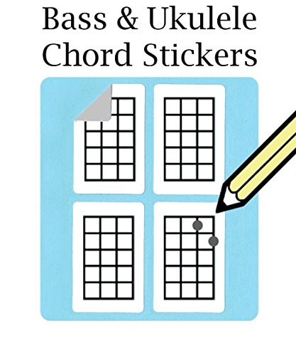 Bass, Ukulele Chord and Tablature Fingering Stickers (500 Pack) At Checkout