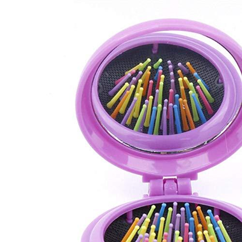 7 Couleurs 1 PC Arc-En-Massage Peigne Pour Favoriser La Circulation Sanguine Mini Airbag Pliant Peigne ABS Portable Miroir Maquillage Peigne, violet, CHINE