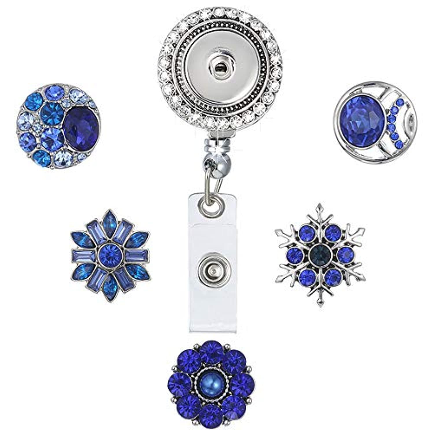 LEGENSTAR Badge Holder Retractable Heavy Duty, Office ID Badge Reel with Crystal, Interchangeable Jewelry with 5 Snap Buttons(Blue)