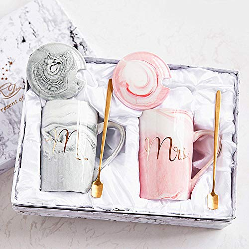 HUANGHHLL Marble Pattern Cup Gold Rim Mug Gift Box Set Coffee Mug Couple Women Cup Flamingo Cup Ceramic with Hand Ceremony-N_400Ml