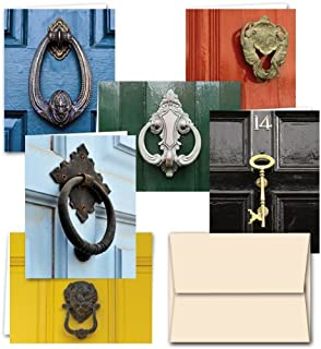 All Occasion Greeting Cards Assortment – 72 Pack – Door Knockers – 6 Unique Designs – OFF WHITE IVORY ENVELOPES INCLUDED – Blank Greeting Card – Glossy Cover Blank Inside – By Note Card Café