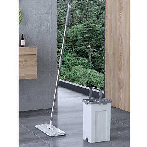 Mop Bucket Set, 2 in 1 Wash Dry mit Wiederverwendbare Flachmophalter Pads, Easy Selbst Wringing Staub Schrubber Bodenreinigung