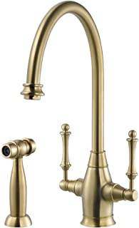 Houzer CRLSS-650-BB Charleston Traditional Two Handle Kitchen Faucet, Brushed Brass
