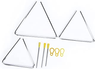 Instrumento de percusión, diseño tallado, 3 piezas, mano de triángulo musical con para tocar el entrenamiento