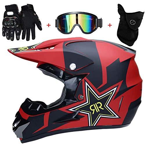 AKBOY Motorrad Helm Motocross Helme Schutzhelm Fahrradhelme City Helme BMX Helme Motorrad Crosshelme, Professionell Lokomotive Mountainbike Helm, Handschuhe Maske Brille (Set von 4) Rot Stern,S