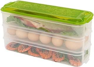 Green multi-purpose crisper food fruit storage box, Food Storage Bento Box, BPA free, Reusable, Freezer Safe, Recyclable & Microwavable (Three layers, green)
