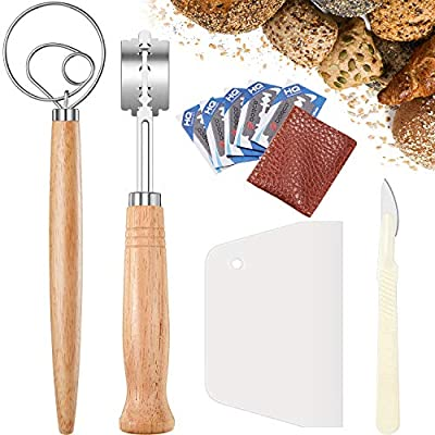 4 Pieces Bread Baking Tools Set Includes Plastic Bread Cutting Scraper Stainless Steel Dough Whisk Wooden Handle Bread Lame Slashing Tool Curved Bread Knife