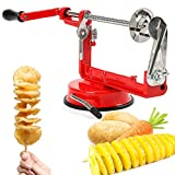 Aiky Twisted Potato Slicer Spiral Vegetable Slicer for Onion Carrot Cucumber Eggplant Sausage Hot Dog BBQ and Fried Manual Red Stainless Steel French Fry Cutter
