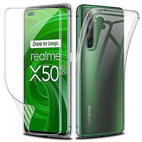 Funda para Realme X50 Pro + [Cobertura Completa] Protector de Pantalla,Suave Transparente TPU Gel Silicona Protectora Carcasa para Realme X50 Pro 5G (6,44 Pulgadas)