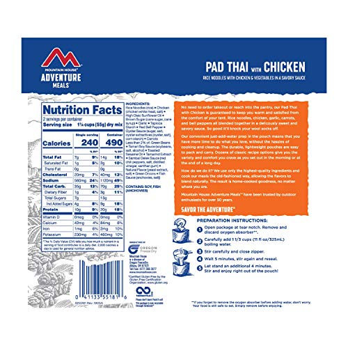 Mountain House Pad Thai with Chicken   Freeze Dried Backpacking & Camping Food  2 Servings   Gluten-Free
