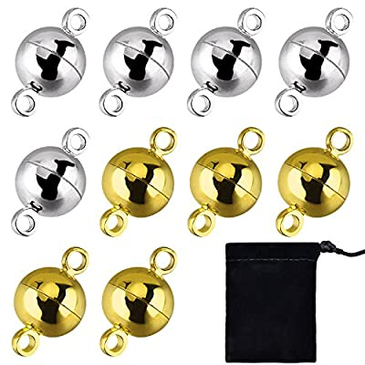 Hotop 10 Pieces Jewelry Magnetic Clasps Round Magnetic Clasps for Bracelet Necklace Making, 8 mm