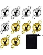 10 chiusure magnetiche rotonde per braccialetti e collane, 8 mm