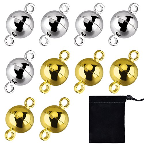 10 Pieces Jewelry Magnetic Clasps Round Magnetic Clasps for Bracelet Necklace Making, 8 mm (Gold and Silver)