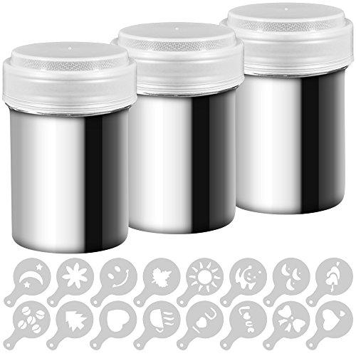 AIFUDA - Juego de 3 espolvoreadores de acero inoxidable con tapa de malla fina, ideal para espolvorear café o cacao, para repostería en el hogar o en el restaurante, con 16 plantillas de estarcido.