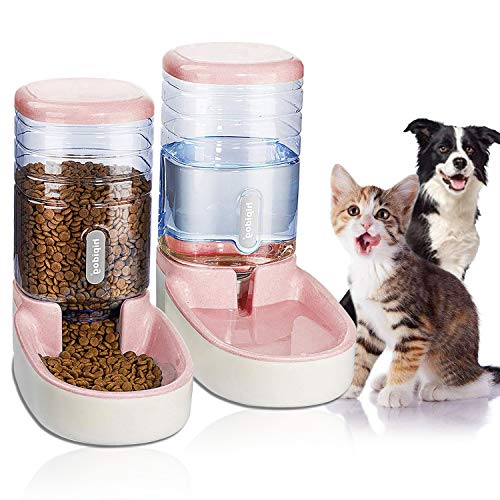 UniqueFit Pets Cats Dogs Automatic Waterer and Food Feeder 3.8 L with 1 Water Dispenser and 1 Pet Automatic Feeder (Light Pink)