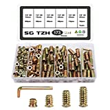 SG TZH 173pcs Threaded Inserts for Wood Nutsert Screw 1/4-20 x 10mm/15mm/20mm/25mm Hex Drive Furniture Wood Nuts Assortment Set (with Hex Spanner-Bronze)