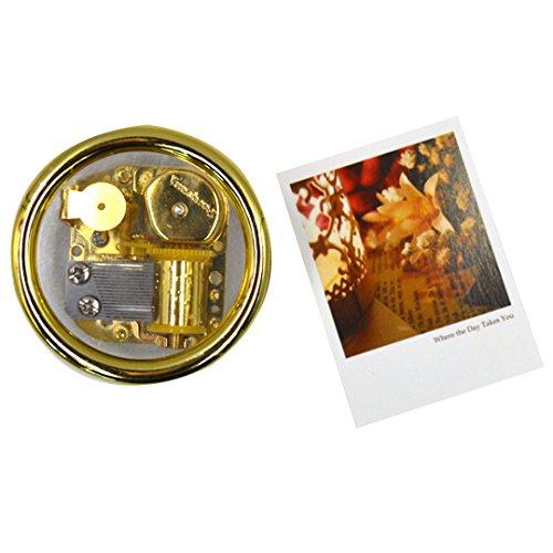 Milya 1 PCS Kreativ Niedliche Runde Mini-Spieluhr mit Foto-Fach für Kinder oder Erwachsene Golden Farbe