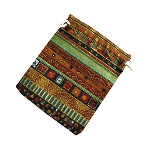 Yihaifu Estilo étnico Unisex de impresión de algodón de Lino Bolsa de Almacenamiento pequeña Bolsa de Tela de algodón Estilo de Lazo Cartera Cambiar la Bolsa de joyería