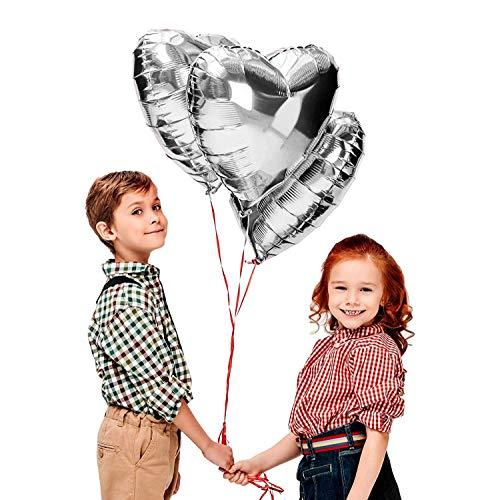CozofLuv 25 Stück 18 Zoll SilberHerzballons Folienballons Luftballons Herzform Heliumballons Herzluftballons Herzballons Party Dekoration (Silber)