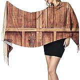 Cachemira de imitación Invierno Bufanda Chal Puerta de entrada rústica y de madera en fachada de piedra Mantón para Mujeres Cálida Grande Larga