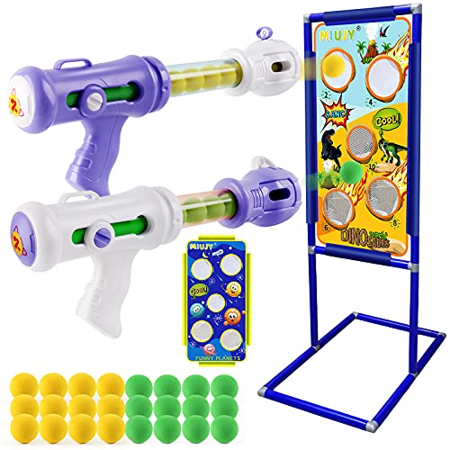 MIUJY Shooting Game Toy for Age 6,7,8,9,10+ Years Old Kids, Boys: 2pk Foam Ball Popper Shooting Toy & Shooting Target & 24 Foam Balls - Ideal Gift - Compatible with Nerf Toy
