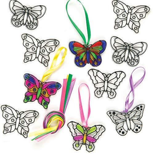 """Baker Ross ET815 Ross Suncatcher-Fensterdeko """"Schmetterling"""" aus Acrylglas zum Basteln und Aufhängen für Kinder ideal für Frühling - 12 Stück"""