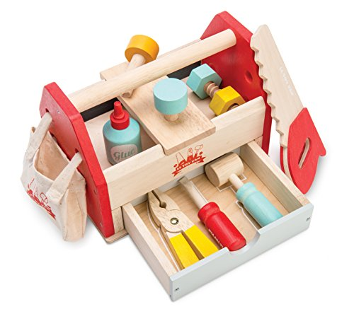 Le Toy Van - Cars & Construction Educational Wooden Tool Box Play Set for Role Play | Boys Pretend Play Wooden Tools - Suitable for 3 Year Olds and Older , Tool Box 12 Piece Set