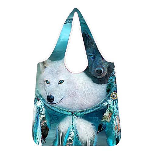 Woisttop Traumfänger Wolf Eco Einkaufstasche Mode Faltbare Wiederverwendbare Tote Falttasche Praktische Große Kapazität Aufbewahrung Lebensmittel Taschen