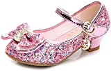 Liqiqi - Scarpe da principessa per bambina, ballerine eleganti con paillettes, antiscivolo, ideali per sale da ballo Rosa Size: 26 EU