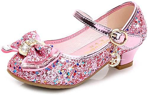 Liqiqi - Scarpe da principessa per bambina, ballerine eleganti con paillettes, antiscivolo, ideali per sale da ballo Rosa Size: 29 EU