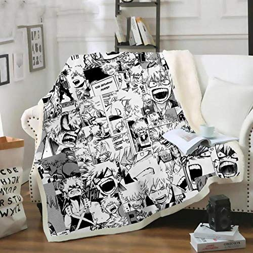 Throw blanket My Hero Academia Anime 3D Velvet Plush Blanket Bedspread For Kids Girls Sherpa Blanket Couch Quilt Cover Travel 01,6,S 130x150cm