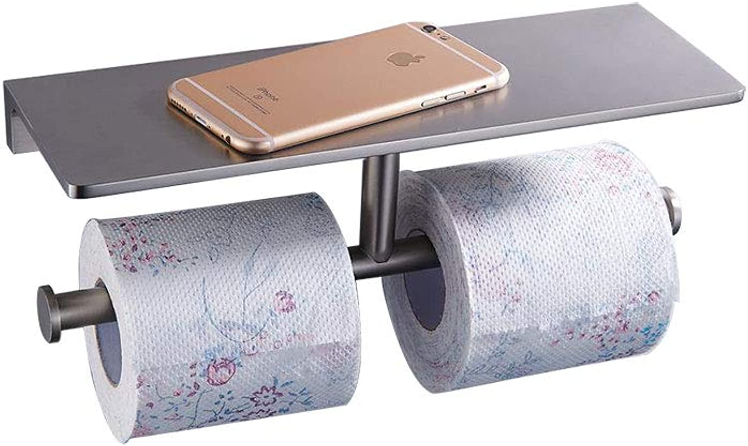 SANLIV Wall Mounted Double Roll Holder Paper Towel Dispenser for Kitchen, Bathroom, Laundry Room, Office with Heavy Brass Storage Rack Shelf in Brushed Nickel