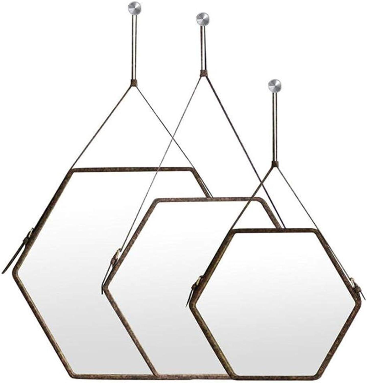 XIUXIU Mirror Simple Round Vanity Mirror Irregular Hexagonal Makeup Mirror Wall Hanging Decorative Mirror (Size   Small)